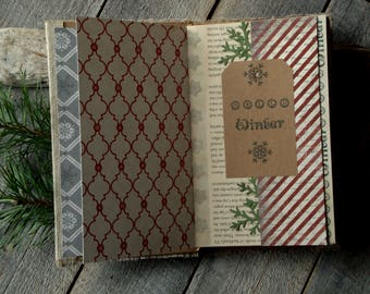 Journal''Hello Winter'',Christmas Journal,December Daily,Junk Journal,Handmade Bound Journal