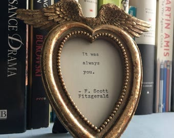 Beautiful antique gold finish heart shape frame with handtyped quote if your choice - lovely gift birthday anniversary wedding
