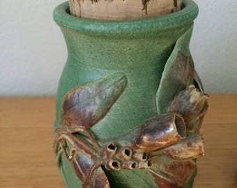 Vintage Australian Studio Pottery June Sayers Gumnut Vase with Lid
