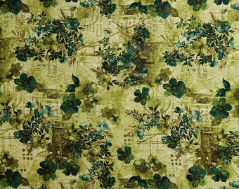"""Floral Printed Crafting Sewing Fabric, Beige Fabric, Indian Decor, Quilt Fabric, 42"""" Inch Polyester Fabric By The Yard ZBP112B"""