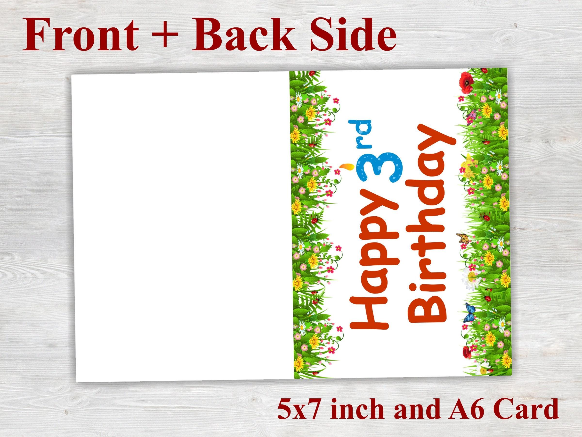 3rd Birthday Card Printable Birthday Card Floral Card Happy