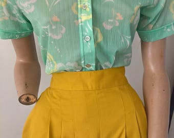 Vintage 70s s/s pastel floral smart casual wide collared  shirt size 12