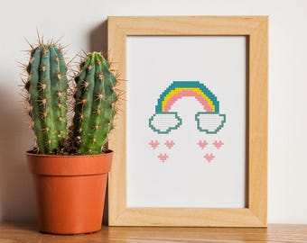 Rainbow cross stitch pattern, Rainbow & Clouds, Cross stitch pdf pattern, Weather pattern #41
