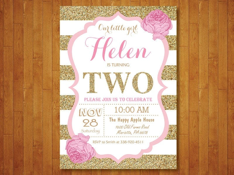 Black And Gold 2nd Birthday Invitation Girl Second Party Glitter Pink