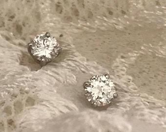 Round Brilliant Cut Diamond Stud Earrings Set in 14K White Gold
