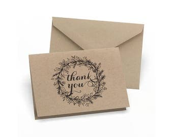 Thank You Kraft Note Cards Floral Wreath Design 50 Rustic Thank You Cards Per Package