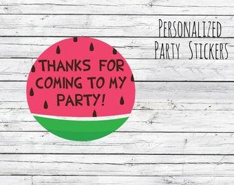 Personalized Stickers 12/20/35 Watermelon Stickers, First Birthday, Sweet Birthday Stickers, Summer Birthday, Watermelon Theme, Picnic Theme