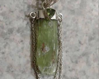 Green Kyanite Rough & Peridot Pendant Necklace