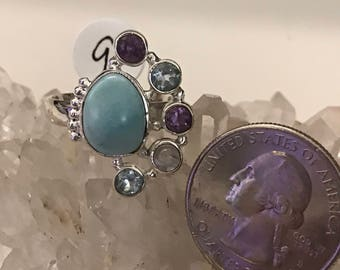 Larimar, Blue Topaz and Amethyst Ring Size 9