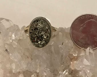 Pyrite/Healer's Gold Ring, Size 10 1/2