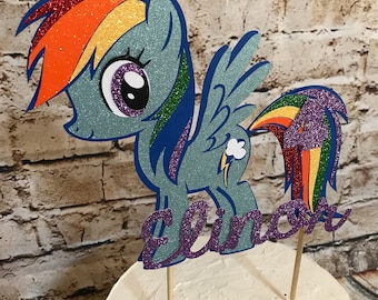 Custom, handmade, personalized My Little Pony cake topper for birthday party with age