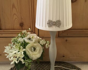 Grey and White Table Lamp with Bow Diamante Embellishment