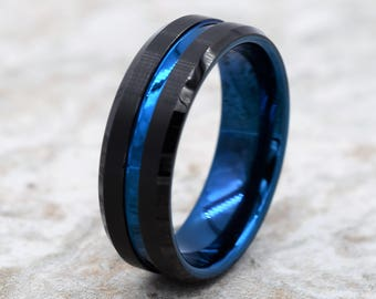 Tungsten Wedding Band, Men's Black Wedding Band, Black Tungsten Ring, Tungsten, Tungsten Band, Personalized Engraving, Blue Tungsten Ring