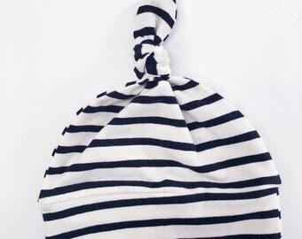 Black and Off-White Stripe Knot Baby Hat