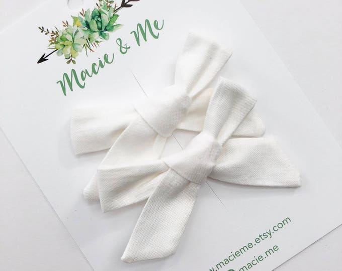 White Hand Tied Bows