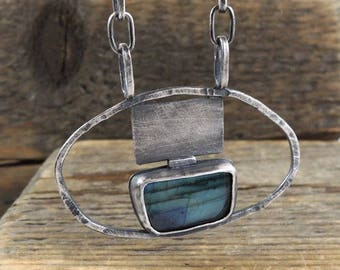 SALE 20% off !!- use the coupon code: SALE20 labradorite silver necklace, chain necklace, oxidized silver