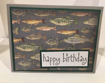 Birthday Card for your favorite Fisherman, Fish Card- Handmade
