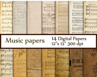 """40%SALE Antique Music Digital Papers: """"MUSIC PAPERS"""" Music sheet Vintage Paper Music Backgrounds Rustic Antique Music Sheets Decoupage paper"""
