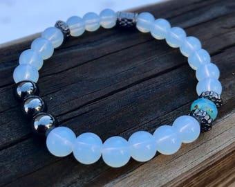 MoonStone w/ Hematite & Ice-Blue detail