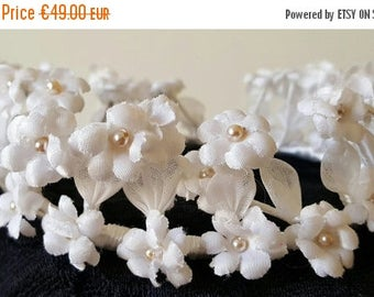 Save 25% Vintage French Communion Linen Crown Pearlized Detail Vintage Wedding Crown