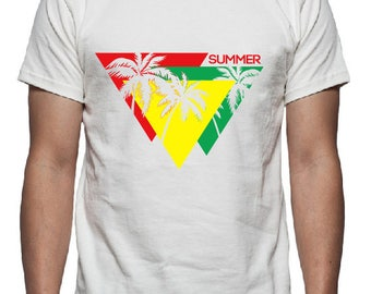 Summer Palm Tree Tee Shirt Design, SVG, DXF, EPS Vector files for use with Cricut or Silhouette Vinyl Cutting Machines