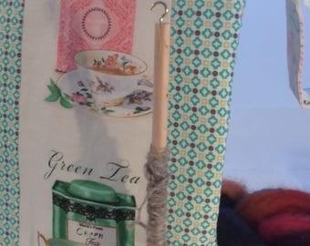 Tea spindle bags, Tea cup bag, Tea time project bags, Tea words for crochet