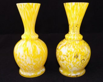 Pair of Antique Moser / Welz Bohemian spatter Glass Vases in Yellow / White