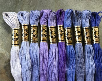 DMC Pearl Cotton Floss #25, Violet Purple Color Pack, Needlepoint Threads, Crewel, Embroidery, Perle Cotton, Sale .40 each