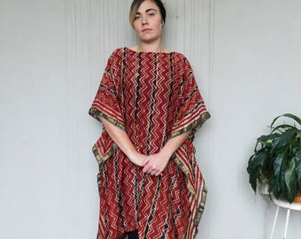 Block printed Kaftan/muumuu/oversized/loose fit ethnic dress.  Natural plant based dye.