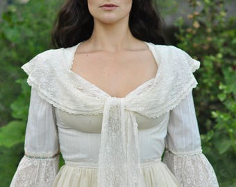 70s Gunne Sax Edwardian Prairie Dress Bell Sleeve Maxi 11