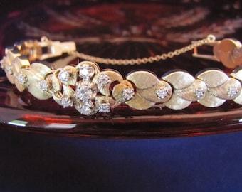 Vintage 1960's Yellow Gold and Diamond 14K Yellow Gold Florentine Finish Link Bracelet