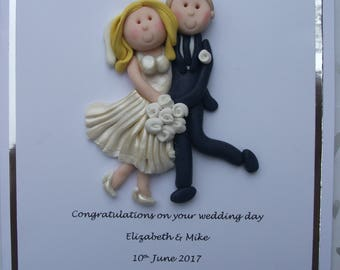 Personalised wedding card /keepsake /gift by Hot Dough Creations