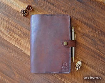 Moleskine cover, Journal cover, A5 leather portfolio, Leather notebook case A5, Brown A5 leather holder, A5 binder notebook.