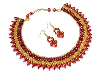 Seed Bead Necklace, Red Golden Seed Bead Necklace, Beadwork Necklace, netted necklace, red statement necklace, maroon necklace, red necklace