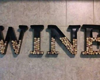 Metal cork filled letters (WINE)