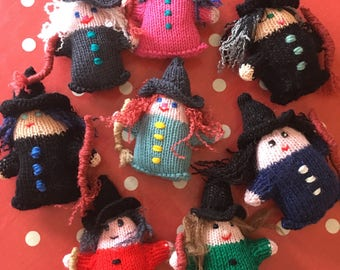 "New Novelty Hand Made Knitted Witch Unique To Penybont Stores 7"" High"