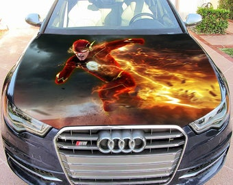 Vinyl Car Hood Full Color Graphics Decal Running Flash Superhero Sticker 2