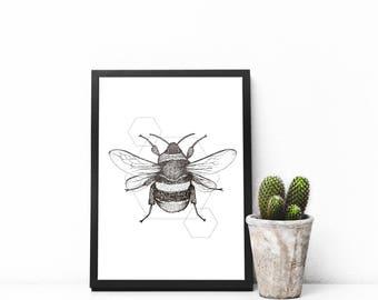 Bumblebee print A4 wall art, black and white, dotwork, interior wall art, nature print