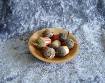 A SQUIRREL'S SNACK*Natural capped wooden acorns in a dinky dish turned from Cherry*Fun boyfriend or husband gift*Nature's hidden colours