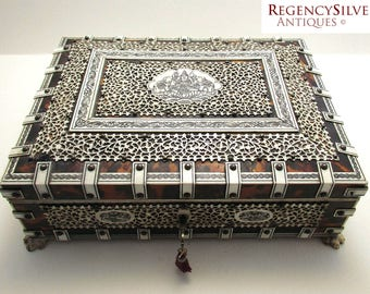 Beautiful Large Anglo Indian Antique VIZAGAPATAM Trinket Jewelry Box Casket. 19th-century. Lock+Key fully working