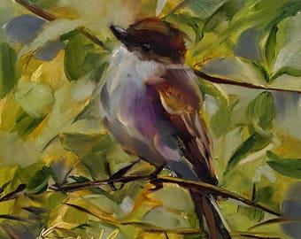 Eastern Phoebe // eastern phoebe painting // eastern phoebe art // bird painting // bird art // original bird painting // original bird art