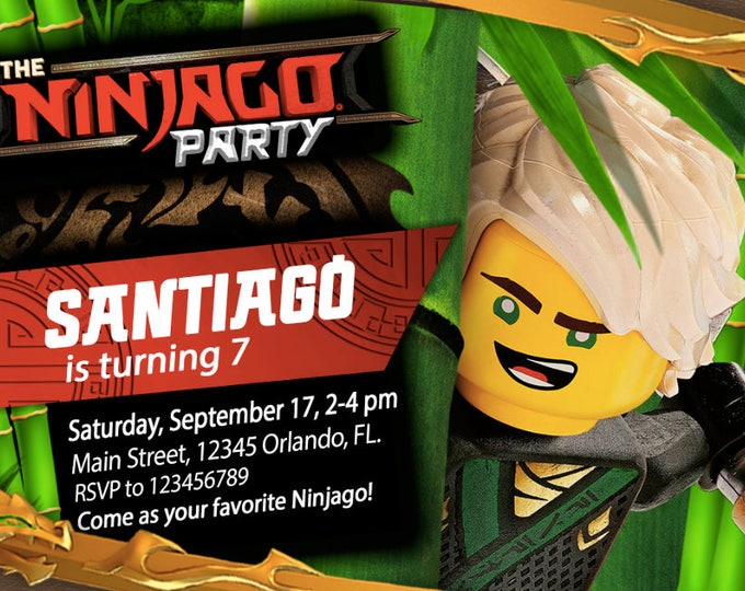 Birthday Invitation LEGO Ninjago The Movie - LLOYD - We deliver your order in record time! Less than 4 hours! Ninja. Ninjago Party