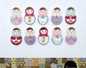 Russian Doll Fridge Magnet Set