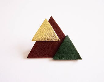 Geometric leather dark Burgundy, gold and green Christmas tree brooch