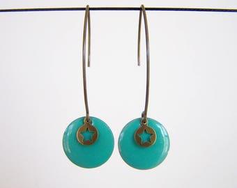 Earrings Mint green sequin enamel and brass star
