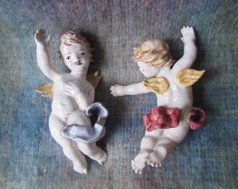 PAIR ANZENGRUBER Keramik Wien Cherubs Putti - rare - collectible