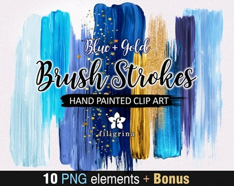 Blue Gold BRUSH STROKES Clip Art. 10 abstract fashion elements, sparkles, indigo paint texture, make up, ultramarine palette. Read about use