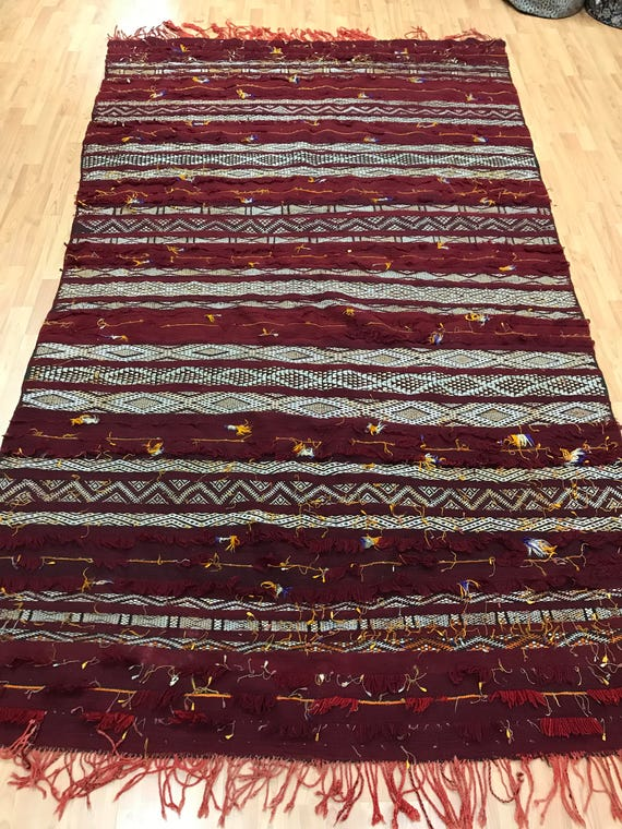 "5'4"" x 9' Mexican Aztek Kilim Hanging Rug - Hand Made - 100% Wool"