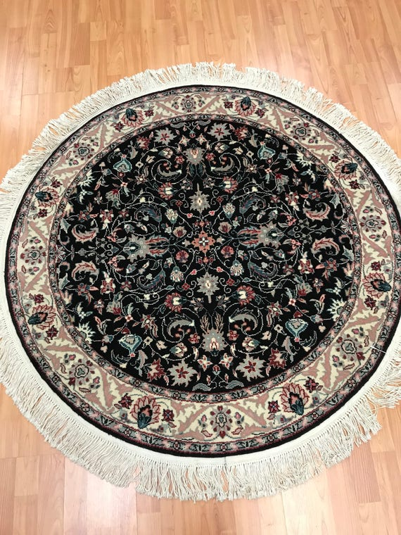 "4'1"" x 4'1"" Round Sino Chinese Oriental Rug - Very Fine - Hand Made - Wool & Silk"