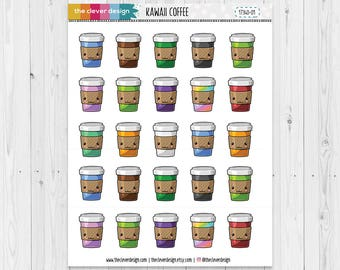Kawaii Coffee Cups | Coffee to Go | Coffee Cup Planner Stickers | 17340-01